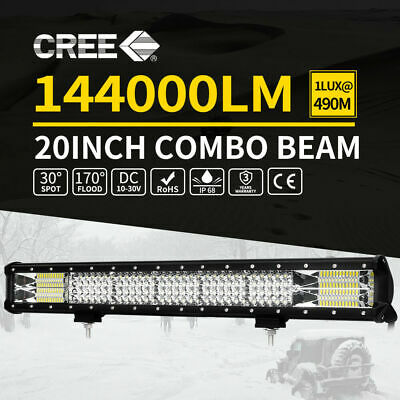 QUAD ROWS 20inch LED Light Bars Spot Flood Combo Offroad 4x4 Work Driving 12V 24