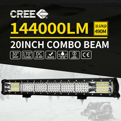Quad Row 20inch LED Light Bar Spot Flood Combo Offroad 4WD Driving Lamp ATV UTE