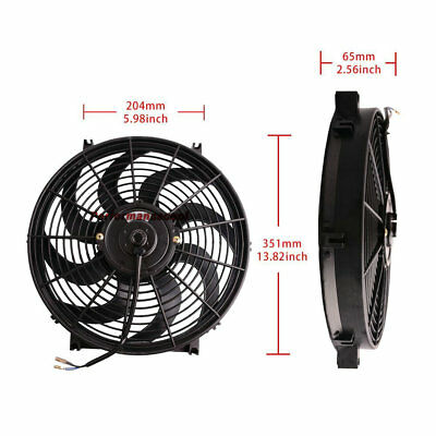 "14""Inch 12V PULL PUSH RADIATOR ELECTRIC THERMO CURVED BLADE COOLING FAN KIT"