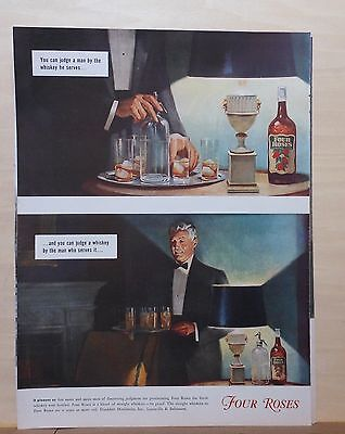 1940 magazine ad for Four Roses Whiskey - used by men of discerning judgement