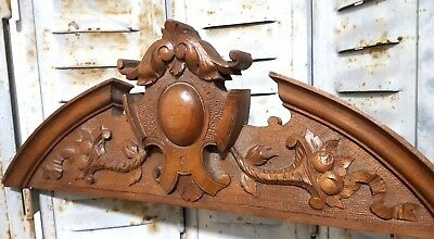 Solid Carved Wood Pediment Antique French Cornucopia Architectural Salvage Crest