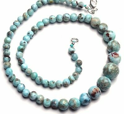 "Natural Rare Gemstone Larimar 5 to 12MM Size Faceted Round Beads 16.5"" Necklace"