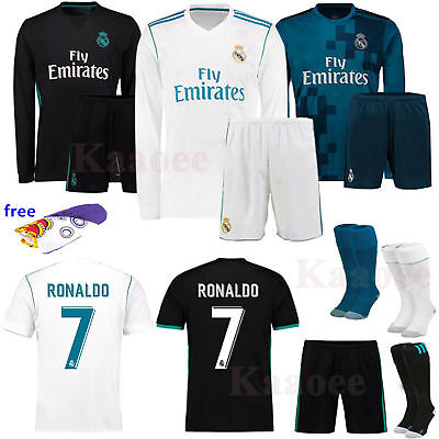 2017-18 Soccer Kit New Long Short Sleeve Kids Jersey Sport Outfit +Socks Set