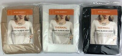 M&S LADIES 2 PACK THERMAL Long Sleeve Pointelle Vests UK 12 14 16 20 & 22  BNWT