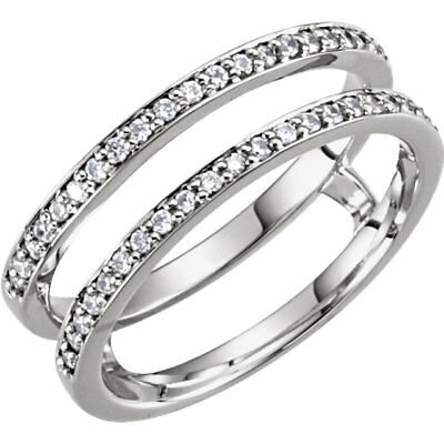 Solitaire Enhancer Round Diamonds Ring Guard Wrap 14k White Gold Wedding Bridal