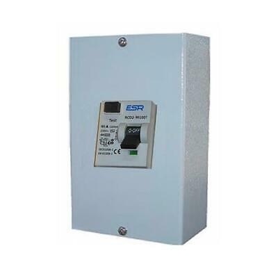80 Amp Time Delay 100mA RCD Trip Safety Switch Double Pole Metal 2 Way Enclosure