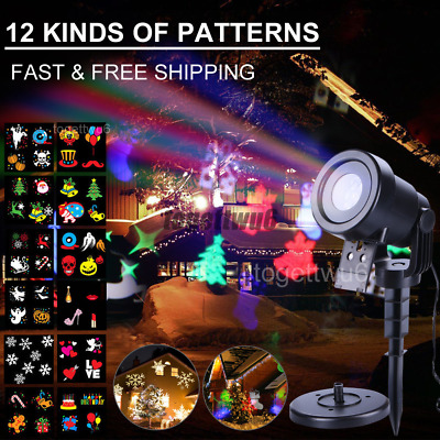 12 Patterns Moving Laser Landscape Projector LED Light Halloween Xmas Decor Lamp