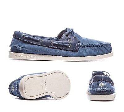 Mens Sperry A/O 2 Eye Wedge Canvas Blue Boat Shoes .RRP £64.99 (PF16)