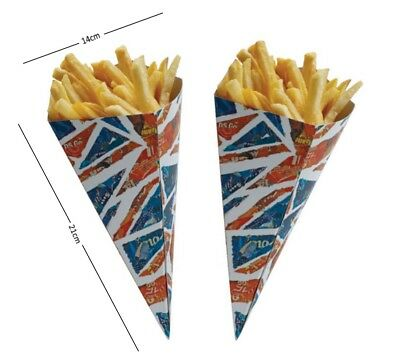 Union Jack British Paper Bags Fast Food Chip Fries Buckets Serving Holder Cones