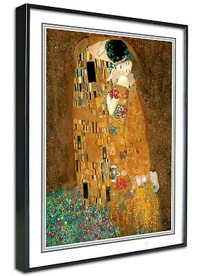 Gustav Klimt Framed Canvas Art Print, The Kiss, Retro Vintage A4 A3, Cafe Poster