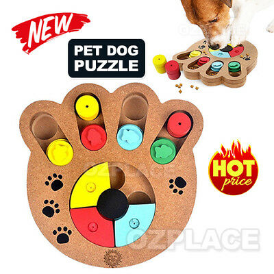 Dog Interactive Puzzle Toys Dog IQ Training Game Puppy Treat Dispenser Wooden