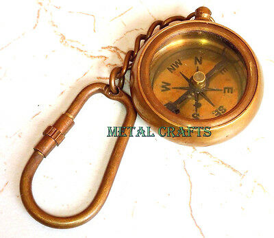 Vintage Brass Compass Key Chain Collectible Key Ring Antique Brass Compass Gifts