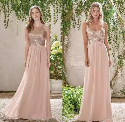 45493f41b44 Blush Pink Rose Gold Long Sequins Bridesmaid Dress Cheap Formal Party Gown