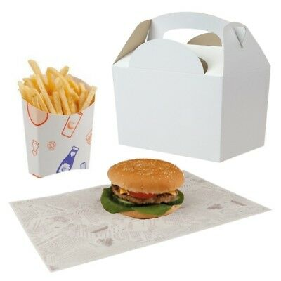 BBQ Party / Kids Happy Meal Takeaway Food Boxes With Chip Scoop & Burger Wrap