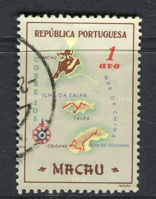 PORTUGAL MACAU  1956 early Map issue fine used 1a. value