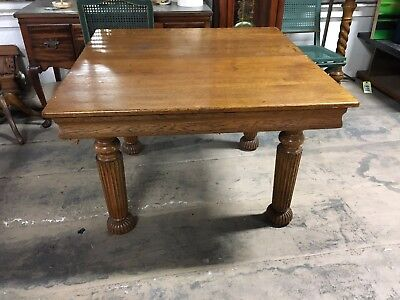 Antique Oak Dining Table 4 Chairs 2 Leaves American Antique Furniture