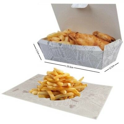 Multi Food Boxes WITH Greaseproof Paper Wrap - Large Fast Food Take Away Boxes