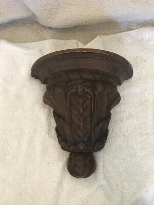 "Antique 11"" Carved Oak ? Floral Vine French Style ? Hanging Sconce Wall Shelf"