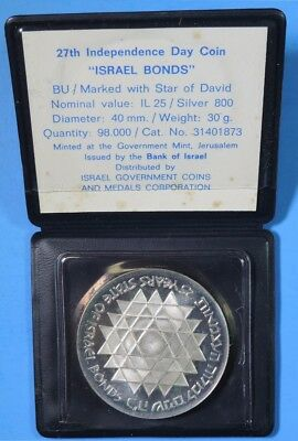 1975 Israel Bonds Independence Day Silver 25 Lirot Coin BU Uncirculated in Case