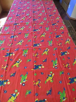 VTG 1940s 2+ YDS PRINT CHILDRENs COTTON FABRIC,CLOWN MONKEY CAT, RED YELLOW BLUE