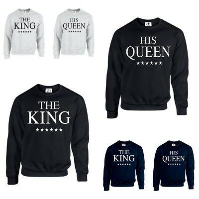 THE KING HIS QUEEN CROWN JUMPER valentines Couples Matching gift  (SWEATSHIRT) f601d49da0cf