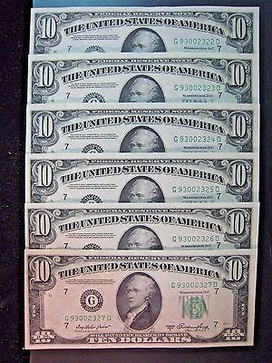 1950 A $10 Federal Reserve Notes Chicago 6 Consecutive Run**FREE U.S SHIPPING **