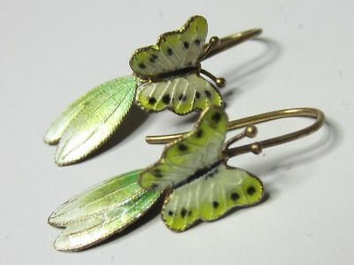Vintage Sterling Silver S925 Green Yellow Enamel Chinese Butterfly Hook Earrings