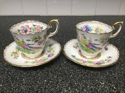 2 Crown Staffordshire Peacock cups