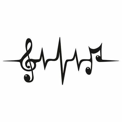 Music Note Heartbeat treble-clef Vinyl Decal Sticker - Car Truck Bumper Window
