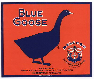 BLUE GOOSE Vintage Maryland Apple Crate Label Melcher Emblem, AN ORIGINAL LABEL