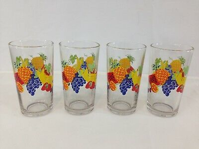 Vtg Set 4 Mid Century Retro Gay Fad Fruit Ice Tea Water 10 oz Drinking Glasses