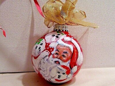 """Bichon Frise with Santa hand painted Christmas glass ornament 3"""" dog art"""
