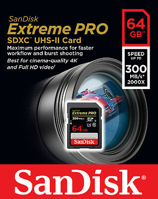 SanDisk 64GB SDXC Extreme Pro UHS-II U3 300MB/s 4K Class 10 SD Card Camera 2000x