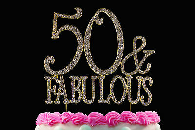 Pleasing 50 And Fabulous 50Th Birthday Cake Toppers Bling Cake Topper Gold Funny Birthday Cards Online Alyptdamsfinfo