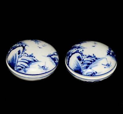 Vintage pair of small round lidded blue & white china trinket pots