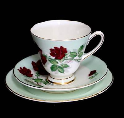 Vintage 1950s pale green & red roses teacup trio set in great condition