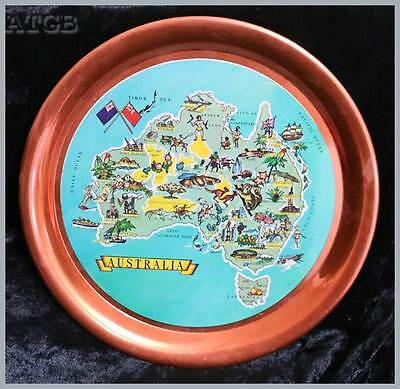 Vintage Australia made in Japan aluminium picture map tray anodised 28cm round.