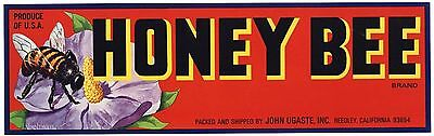 HONEY BEE Brand, Honeybee, Reedley, California, AN ORIGINAL FRUIT CRATE LABEL