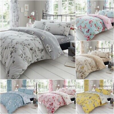 Birdie Blossom Floral Luxurious Duvet Covers Quilt Cover Reversible Bedding Sets