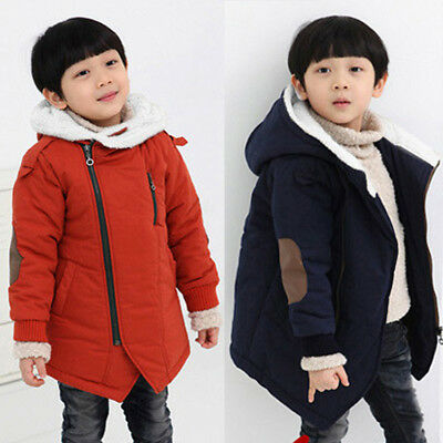 Children Boys Winter Warm Cotton Jackets Hooded With Fur Outerwear Clothing