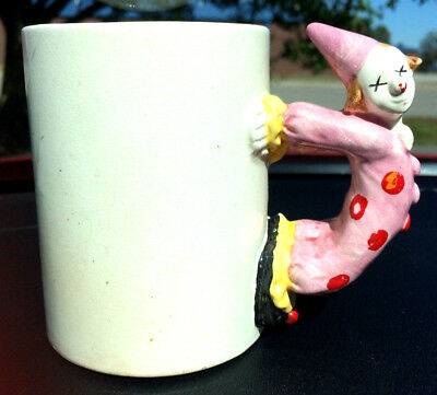 1 Vintage PORCELAIN BISQUE CIRCUS CLOWN HANDLE MUG PINK