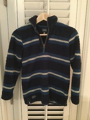 Joules Clothing Boys Fleece Pullover Coat Jacket Size 9-10 Blue Stripe