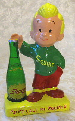 """SQUIRT BOY With BOTTLE Chalkware Advertising Display """"Just Call Me Squirt"""" Soda"""