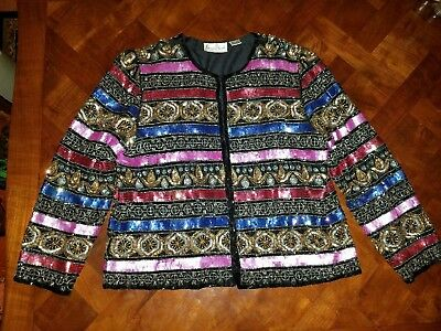 Lawrence Kazar Silk Sequin and Beaded Jacket Womens Petite XL