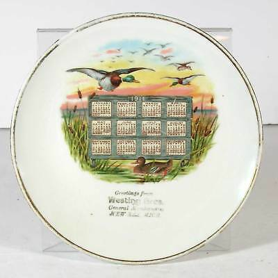 1911 Advertising Calendar Plate With Duck Hunting / New Era Michigan Store