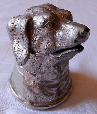 Antique Plated Cast Metal Dog Head Inkwell