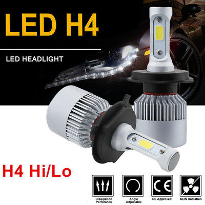 Pair H4 9003 HB2 72W 8000LM Car LED Headlight Bulbs Hi/Lo Beam COB 6000K White