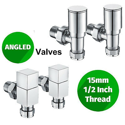 "Designer Central Heating Radiator Valves Angled Manual Brass Chrome 15 mm  ½"" UK"