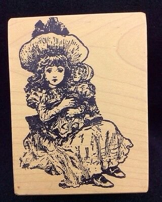 MAGENTA Vintage Victorian Girl Child with Antique Doll RUBBER STAMP Wood Mounted