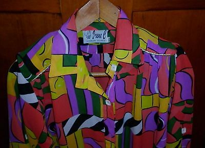 1980s VINTAGE WOMENS BRIGHT PRINT SMALL BLOUSE IN EXCELLENT CONDITION
